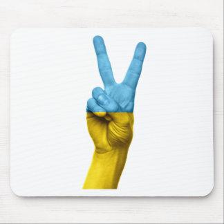 Ukrainian Flag Peace Sign Mouse Pad