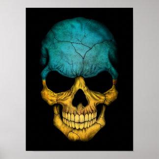 Ukrainian Flag Skull on Black Poster