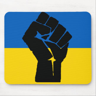 Ukrainian Flag with Black Fist Mouse Pad