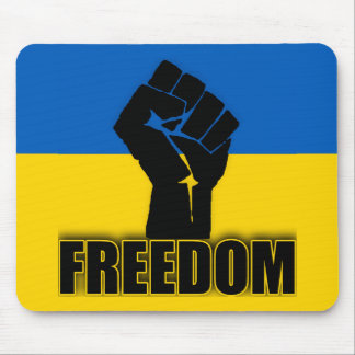 Ukrainian Flag with Fist for FREEDOM Mouse Pad