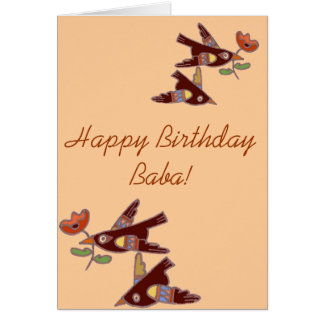 Ukrainian Folk Art Birds for Baba Card