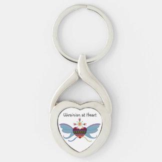 Ukrainian Folk Art Heart Keychain