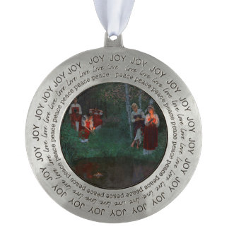 Ukrainian Ivana Kupala Christmas Ornament Round Pewter Ornament