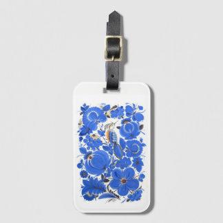 Ukrainian Petrykivka Folk Art Luggage Tag Blue
