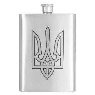 Ukrainian Silver Tryzub Flag Hip Flask