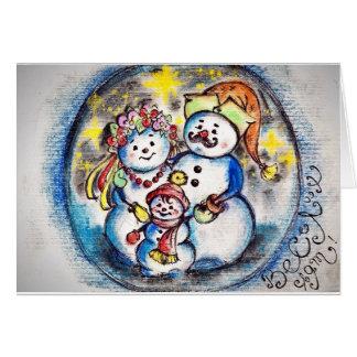 Ukrainian Snowmen Family Postcard