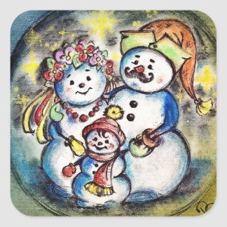Ukrainian Snowmen Family Square Sticker