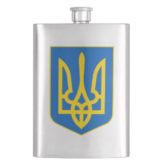 Ukrainian Tryzub Flag Blue Yellow Hip Flask