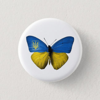 Ukrainian Tryzub Flag Coloured Butterfly Badge S 1 Inch Round Button