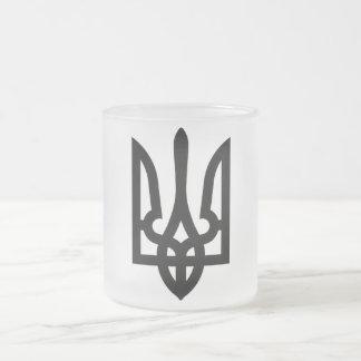 Ukrainian Tryzub Frosted Glass Coffee Mug