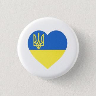 Ukrainian Tryzub Heart Badge Small 1 Inch Round Button