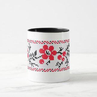 Ukrainian Vyshyvanka Cranberry  Embroidery Mug