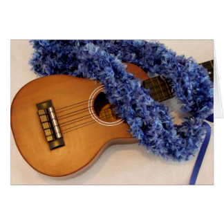 Ukulele and Blue Lei Card