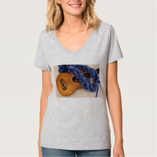 Ukulele and Blue Lei T-Shirt