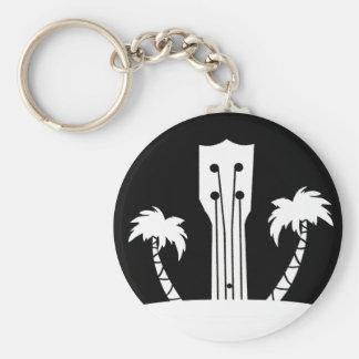 Ukulele and Palm Tree Keychain