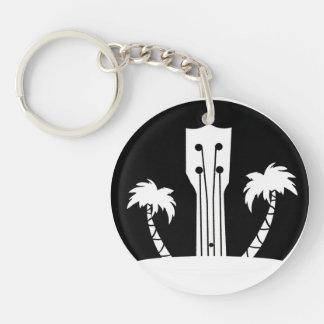 Ukulele and Palm Trees Keychain