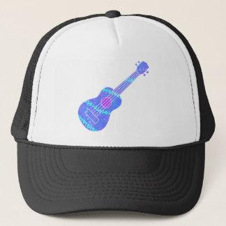 Ukulele Blue Paint Spatter Trucker Hat