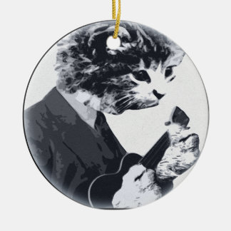 Ukulele Cat round Round Ceramic Ornament