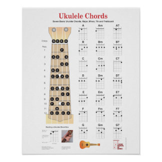 Ukulele Chords Finger Charts, Fretboard with Notes Poster