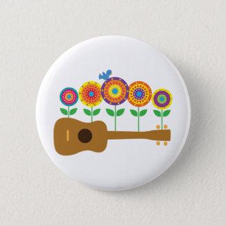 Ukulele Flowers 2 Inch Round Button