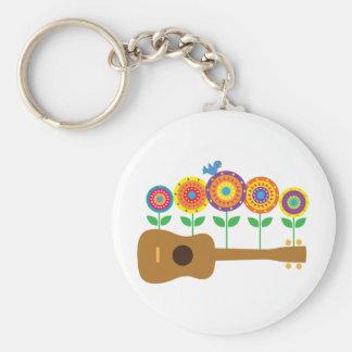 Ukulele Flowers Keychain