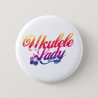 Ukulele Lady Button Badge Pink