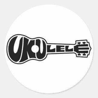 Ukulele Logo Classic Round Sticker