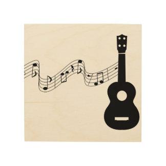 """Ukulele Musical Notes 8""""x8"""" Wood Wall Art"""