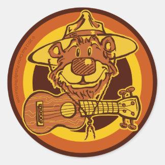 """Ukulele Rangers """"Smiling Bear with Uke"""" Cartoon Lo Round Sticker"""