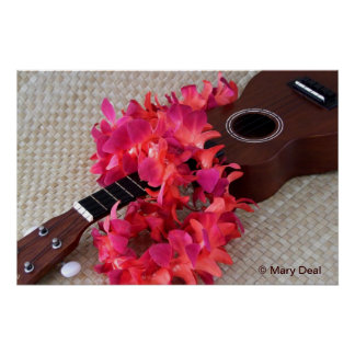 Ukulele & Red Flower Lei Poster
