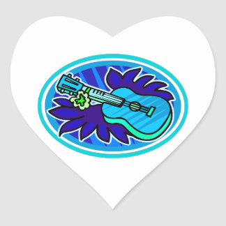 Ukulele with leaves and flowers circle, blue heart sticker
