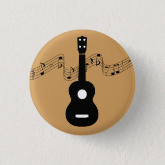 Ukulele with Music Notes 1 Inch Round Button