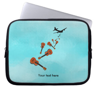 Ukuleles dropping from and airplane laptop sleeve