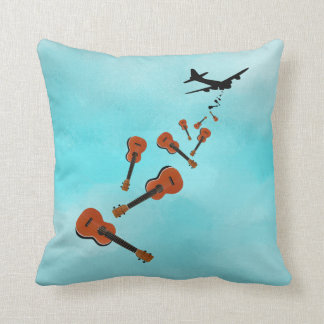 Ukuleles dropping from and airplane throw pillow