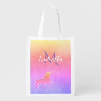 Ulra violet pink peach with monogram and unicorn reusable grocery bag