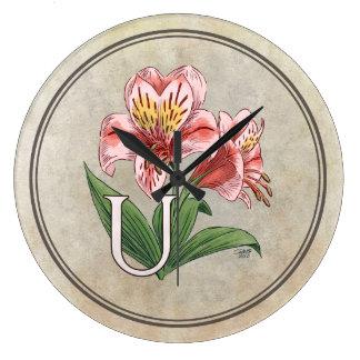Ulster Mary Flower Alphabet Monogram Art Clock