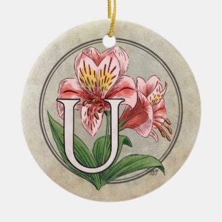 Ulster Mary Flower Monogram Round Ceramic Ornament