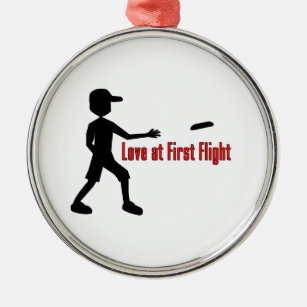 781ff26256351 Ultimate Frisbee Love at First Flight Metal Ornament