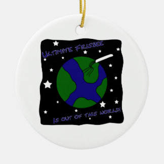 Ultimate Frisbee Out of this World Ceramic Ornament