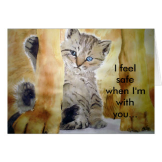 Ultimate Protection Cat Dog Card Fine Art Painting
