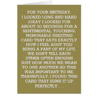 Ultimate Sentimental Birthday Message (Bourbon) Card