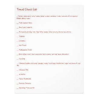Ultimate Travel Check List for Every Kind of Trip Full Color Flyer