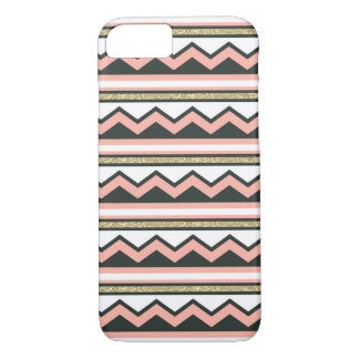 Ultra Chic Gold & Coral Chevron iPhone 7 case