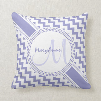Ultra Chic Purple White ZigZag Chevron Monogram Throw Pillow