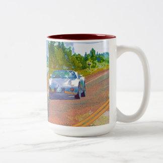Ultra Cool Super Fast Silver Sports Car Two-Tone Coffee Mug