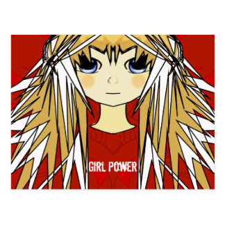 Ultra Cute Anime Blonde Long Hair Girl Power Postcard