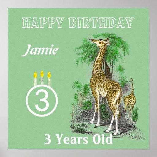 Ultra Cute Giraffe Safari Birthday Posters