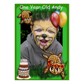 Ultra Cute Leopard Safari Birthday Invitations Wit Pack Of Chubby Business Cards