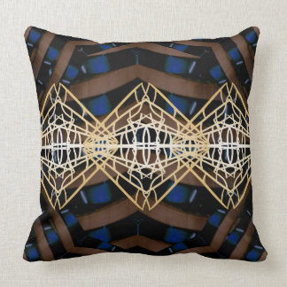Ultra Modern Contemporary Home Decor Blue Gold Throw Pillow