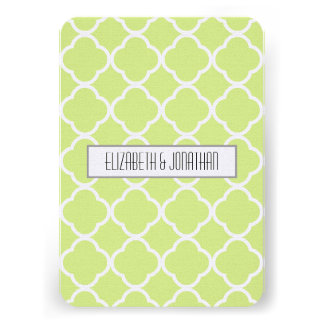 Ultra Modern Green Ogee Wedding RSVP Personalized Announcement